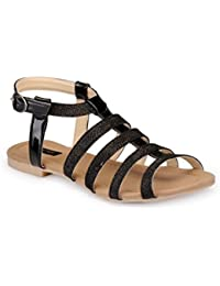 Faux Leather/ Synthetic Black Sandal Flat - B01GTXI8H8