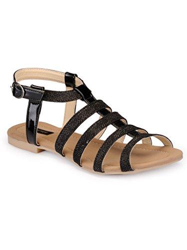 Faux Leather/ Synthetic Black Sandal Flat - B01GTXI8H8