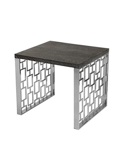 Armen Living Skyline Lamp Table, Charcoal