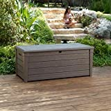 Keter Brightwood Deck Box 120 Gallon Capacity, Durable Uv Protected Resin Construction, Textured Wood Lookq
