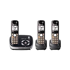 Panasonic KX-TG6533B DECT 6.0 PLUS Expandable Digital Cordless Phone with Answering System, Black, 3 Handsets