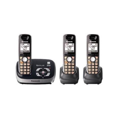 Panasonic KX-TG6533B DECT 6.0 PLUS Expandable Digital Cordless Phone (Black)