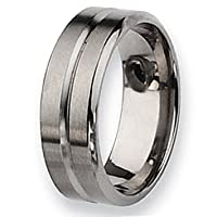 Chisel Grooved Beveled Edge Brushed and Polished Titanium Ring (8.0 mm) - Sizes 6-13