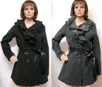 Smart Belted Button Up Ruffle Coat Jacket Grey Black 8 10 12 14 16 (16, Grey)