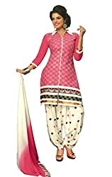 SGC Pink & White Cotton Embroidery unstitched churidar Patiyala (NKT-5104)