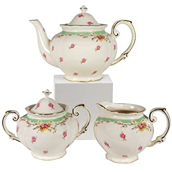 Green Vintage Rose Teapot, Creamer and Sugar Set