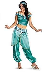 Disguise Women's Disney Aladdin Jasmine Deluxe Costume, Green, Large