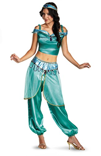 Disguise Women's Disney Aladdin Jasmine Deluxe Costume, Green, Medium