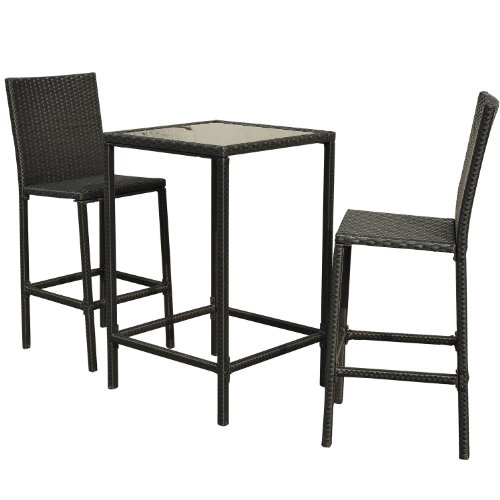 Outsunny 3-Piece Outdoor Rattan Wicker Patio Bistro Dining Set photo