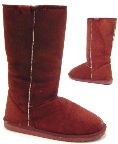 Kunst Fell Stiefel, warm gefüttert Winterstiefel Schnee Boots rot 37