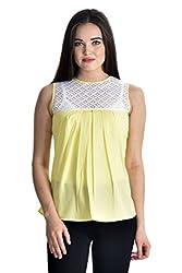 Femninora Lemon Color Casual Half Net Top