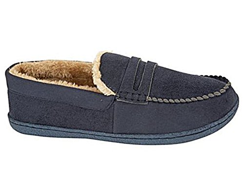 mens-new-hampshire-faux-suede-fur-lined-moccasin-slippers-shoes-size-7-12-uk-9-navy