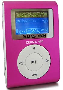 Sunstech Dedalo - Reproductor de MP3 (4 GB de capacidad) color rosa