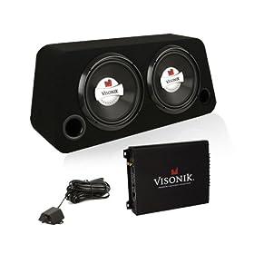Visonik V212BS Car Audio 1500 Watt Dual 12 inch Sub Enclosure Amp Combo