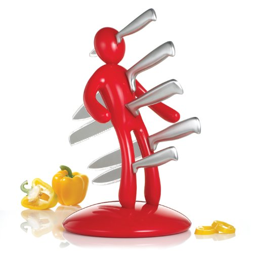 THE EX Kitchen Knife Set by Raffaele Iannello, Red