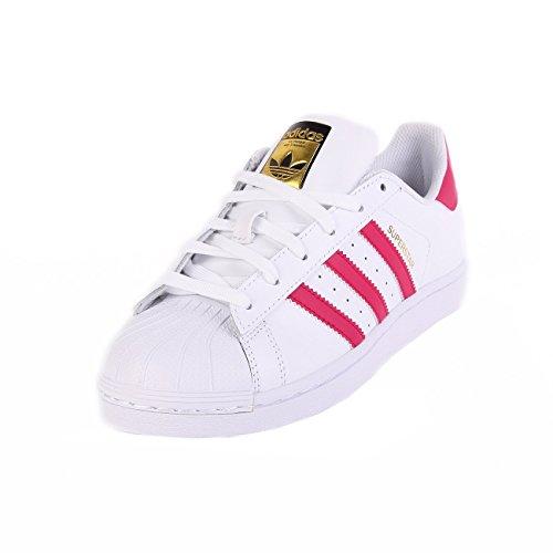Adidas Superstar Foundation, Scarpe da Basketball Unisex Bambini, Multicolore (Ftwwht/Bold Pink/Ftwr White), 30 EU