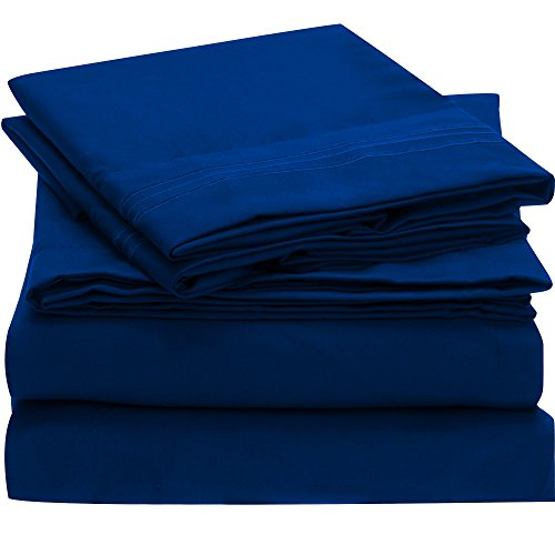 Harmony Linens Bed Sheet Set - 1800 Double Brushed Microfiber Bedding - 4 Piece (Full, Imperial Blue) (Blue Bed Sheets Full compare prices)