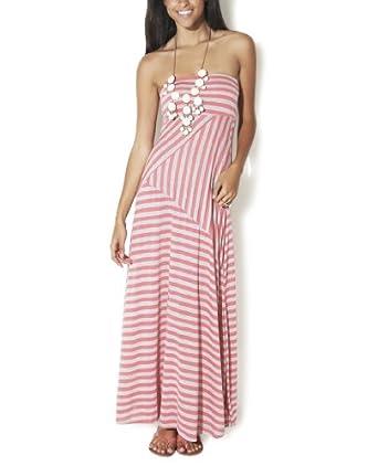 Wet Seal Women's Pieced Stripe Maxi Dress L Coral