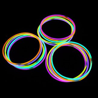 "22"" Glowsticks Light Stick Necklaces Mixed Colors (100 Necklaces) - 1"