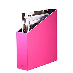 VPACK Home Office Leatherette Organizer Collection Magazine File Organizer Holder, Assorted Color (Fuchsia Pink)