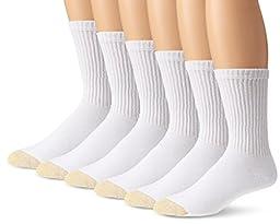 Gold Toe Men's Cotton Standard Crew Athletic Sock, White, 6-Pack Sock Size 10-13