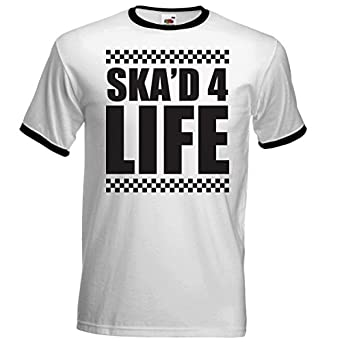 2 Tone Ska'd For Life Chequered Design Ringer T Shirt - Ska Two Tone Specials Rude Boy Girl Free UK Postage (Small 34-36)