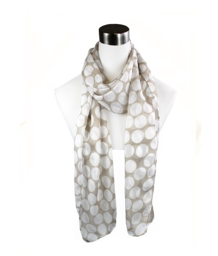Modadorn Spring Lightweight Polka Dot Chiffon Scarf Women's Fashion / Clothing / Accessories ( Beige..