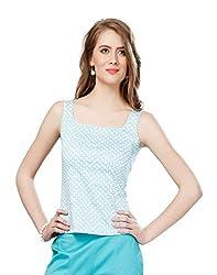 Eavan Women's Casual Wear Blue Printed Top Blended Top