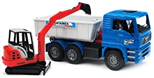 Bruder Toys MAN Tipping container truck with Schaeff mini excavator at Sears.com