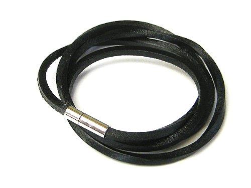 [Fenice] simple multiple winding leather leather bracelet and anklet versatile all-around item men women (black)