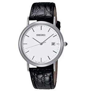 Highly Standard Seiko Men's Black Strap Watch With White Easy To Read Dial