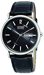 "Citizen Men's BM8240-03E ""Eco-Drive"" Stainless Steel and Black Leather Strap Watch"