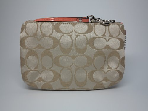 Coach   Coach Campbell Signature Med Wristlet F51109 Khaki/Coral