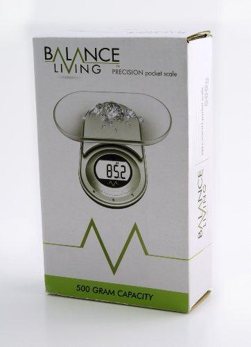 Balance Living. Balance de Poche Electronique. Précision Digitale 500g. Couleur Vert Métallisé