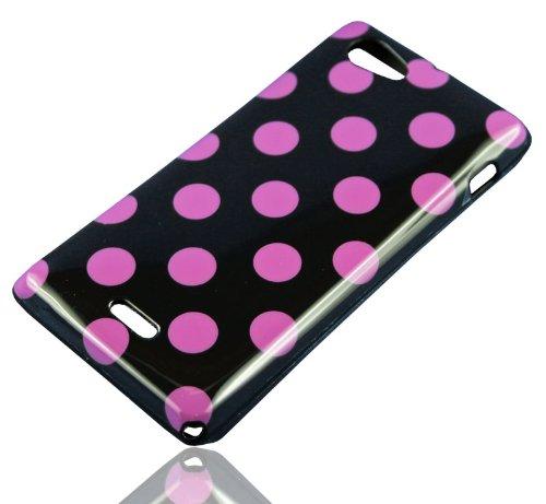HandyFrog TPU Schutzhülle f. Sony Xperia J ST26i - Punkte Dots schwarz black lila - Silikonhülle Handy Case Cover Hülle Handyschale
