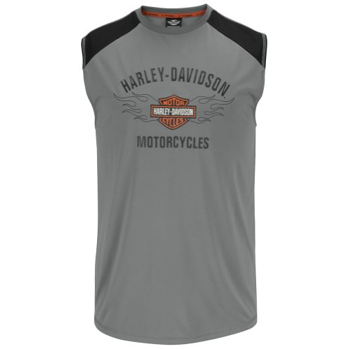 Harley-Davidson Mens Performance Flaming B&S Grey Sleeveless Muscle T-Shirt (Large)