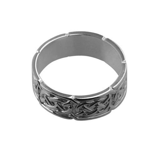 9ct White Gold 8mm Celtic Wedding Ring sizes R to Z+1