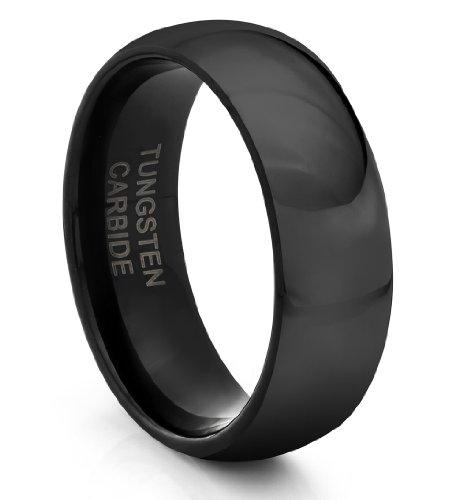8MM Tungsten Carbide Classic Black Mens Wedding Band Ring (Available Sizes 7-14 Including Half Sizes)