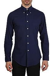 Brooks Brothers Men's Cotton Casual Shirt (BB_16022016_002_XL, Blue, XL)