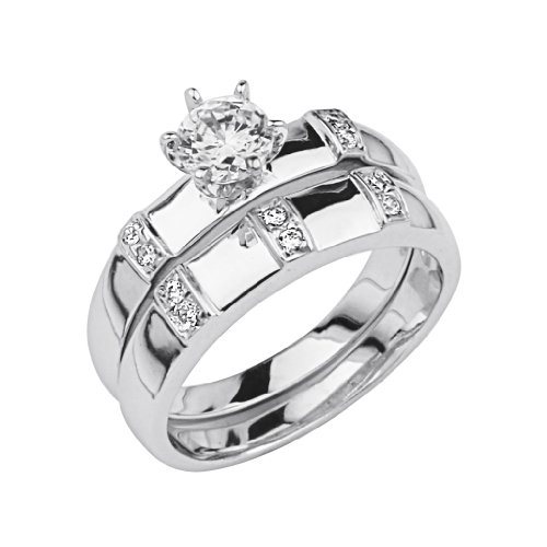 .925 Sterling Silver CZ Ladies Wedding Engagement Ring and Matching Band 2 Pieces Set - Size 5