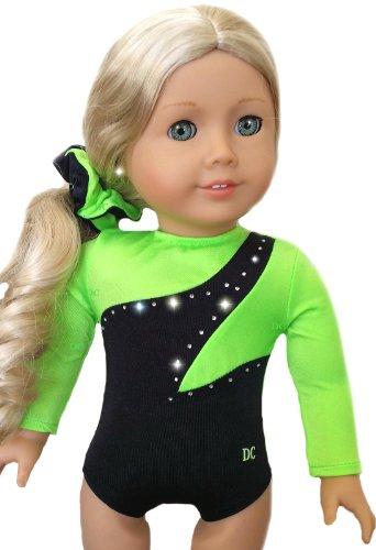 Neon Green Gymnastics Dance Leotard W/Rhinestones - Fits American Girl 18 Inch Doll - Doll Clothes Lot front-1011171