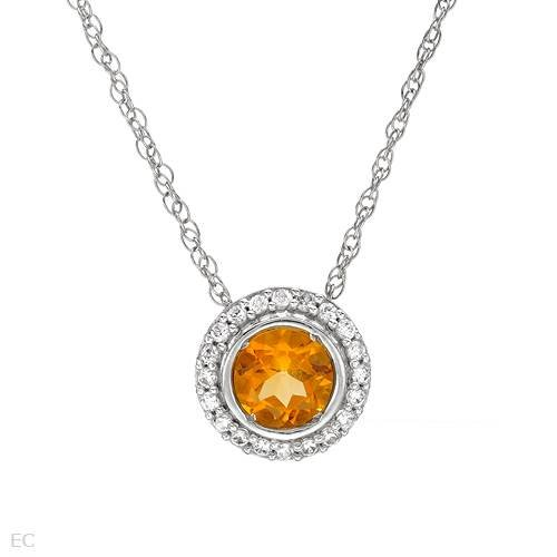 Sterling Silver 0.85 CTW Citrine and 0.2 CTW Cubic Zirconia Ladies Necklace. Length 18 in. Total Item weight 1.8 g.