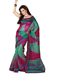Anvi Creations Supernet Cotton Printed Turquoise Pink Saree (Turquoise Pink _Free Size)