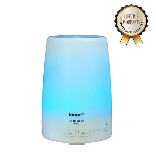 Innoo Tech Humidificador Ultasónico 300ml Aromaterapia Difusor Aceites Esenciales Difusor de Aroma Ambientador Hogar en Invierno Luz LED con 7 Colores Elegibles Vapor Frío Humedecer y Purificar el Aire en Casa