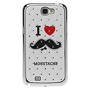 Mustache Pattern Hard Case with Rhinestone for Samsung Galaxy Note 2 N7100
