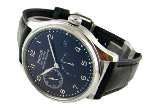 Fanmis Luxury Black Dial Silvery Hands Power Reserve Automatic Calendar Wrist Watch 43mm