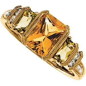 14K Yellow Gold Peridot, Citrine & Diamond Ring