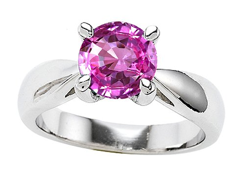 Original Star K(tm) 7mm Round Created Pink Sapphire Engagement Ring in .925 Sterling Silver Size 7