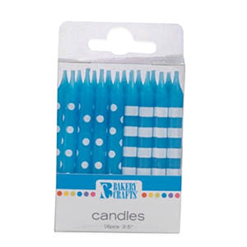 Oasis Supply Stripes and Dots Birthday Candles, 2.5-Inch, Blue - 1