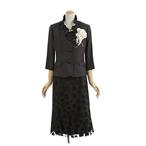 (アンジェリカ)Angelica 高品質セレモニースーツ 七分袖 シャンタン フリルカラー 長め丈 スカートスーツ ブラック 黒 L 11号 13号